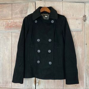 J.Crew Black Double Breasted Peacoat Large